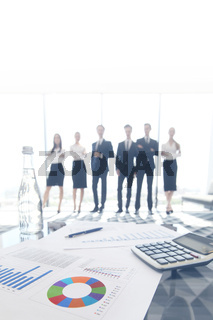 Business documents and office workers