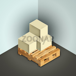 pallet of boxes in a storage