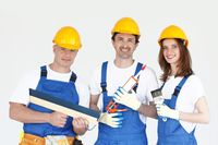 Renovation workers team with tools