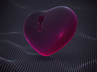 3D red heart with keyhole on sound waves background.