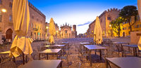 Mantova city Piazza Sordello cafe and architecture dawn view
