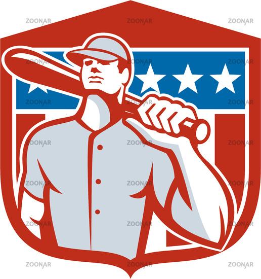 American Baseball Batter Bat Shield Retro