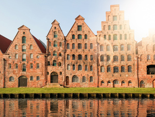 historic Salzspeicher warehouses in Lubeck, Germany against clear sky