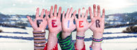 Children Hands Building Word Feier Means Celebration, Snowy Winter Background