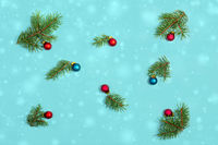 Spruce twigs and Christmas balls.