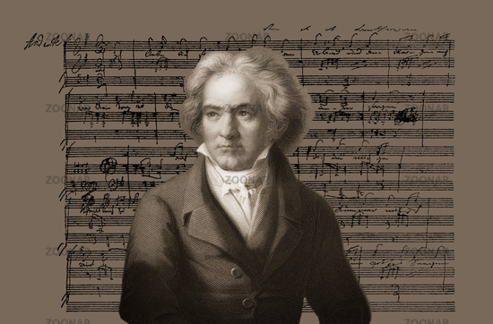 Hand-written musical notation, love song, Zärtliche Liebe, 1795, Ludwig van Beethoven, 1770 -1827, German composer