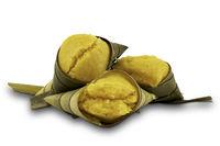 Thai style dessert Toddy Palm Cakes (Kanom Tarn) on white background