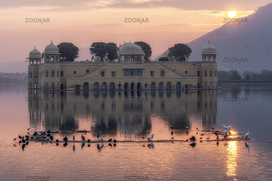 jal mahal water palace sunrise