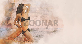 Sexy 30s female in black bikini posing on the beach the sea. Digitally altered horizontal image, digital art watercolour photo