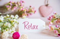 Rose Spring Flowers Decoration, Label, Heart, Text Relax