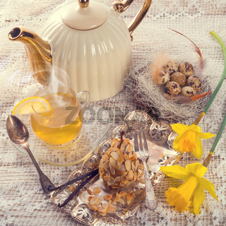 almonds pear and tea - vintage