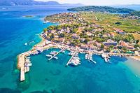 Lumbarda. Korcula island vllage of Lumbarda coastline aerial view