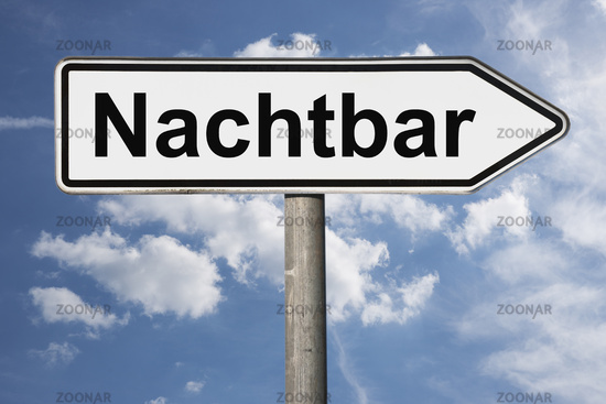 Wegweiser Nachtbar | signpost Nachtbar (Night bar)