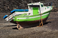 Fishing boat at low tide in Lanzarote