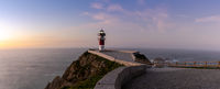 panorama of the Cabo Ortegal lighthouse on the coast of Galicia at sunset