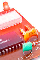 Close up of electronic components on a obsolete pr
