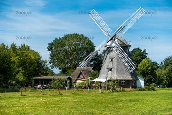 Mill with cafe in Ahrenshop, Fischland-Darss, Mecklenburg-Western Pomerania, summer 2020