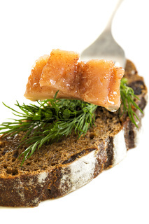 Slice of herring and black bread.