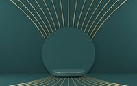 Mock up podium for product presentation circle with golden radial lines 3D