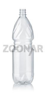 Front view of empty plastic PET bottle