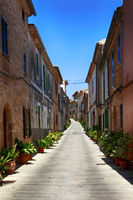 The narrow street in the old town of Alcudia, Mallorca
