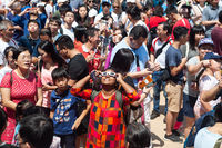 Singapore, People gather at Kebun Baru Springs Amphitheatre to observe the annular solar eclipse