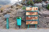Rusty information panels at viewpoint Eira do Serrado, Madeira Island