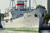 Kaliningrad, Russia - September 30, 2020: the Vityaz research vessel stands on the roadstead of the world ocean Museum