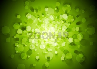 Green technical vector background with circles
