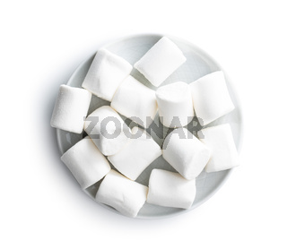 White sweet marshmallows candy on plate