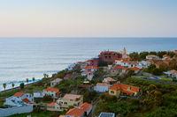 Madeira village aerial view ocean