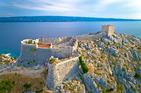 Starigrad Fortica fortress above Omis aerial view