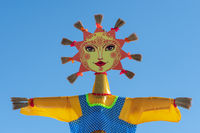 Ritual effigy of Lady Maslenitsa - festive symbol of Russian traditional festival of Maslenitsa
