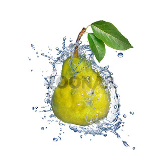 yellow pear with water splash isolated on white