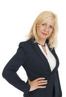 Upper body portrait of a blonde business woman