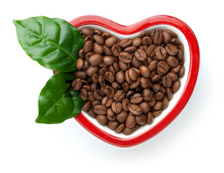 Coffee Beans In Heart Shaped Bowl Isolated