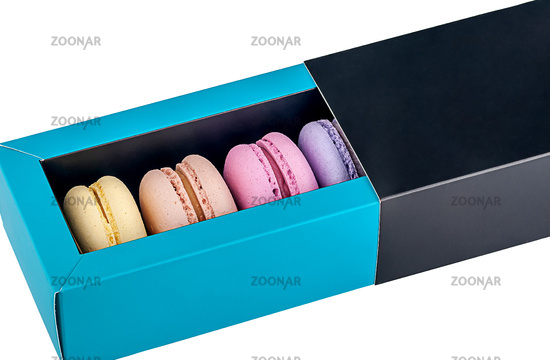 Macaroons in gift box front view