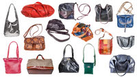 collection of various women's l bags isolated