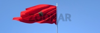 3D rendering of the national flag of Morocco waving in the wind