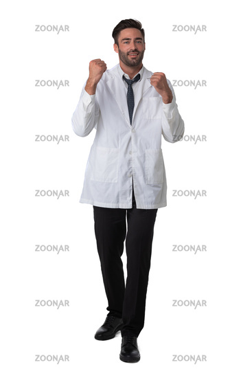 Male doctor holding fists