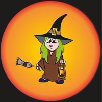 Vector. A funny little witch with a lantern