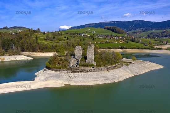 Ruins of the Pont-en-Ogoz fortress on Ogoz Island, Ile d'Ogoz, Switzerland