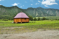 Traditional dwelling of indigenous people living in the Altai mountains