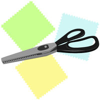 Large tailor's scissors for sewing with zigzag blades and black handles lie on three colorful shreds.
