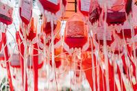 Half empty blood bags, close angle