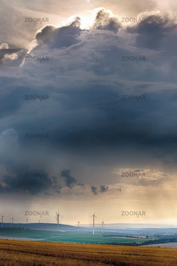 Wind generators with clouds near Alzey, Pfalz, Ger