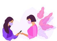 Girls communicate in protective masks. Coronavirus protection. Vector illustration