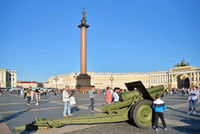Howitzer on Palace square during the city military-Patriotic act