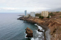 Aerial view of Puerto de La Cruz Coastline in Tenerife, Canary Islands, Spain. High quality photography