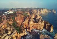 Aerial view of Ponta da Piedade headland, Lagos town, Portugal